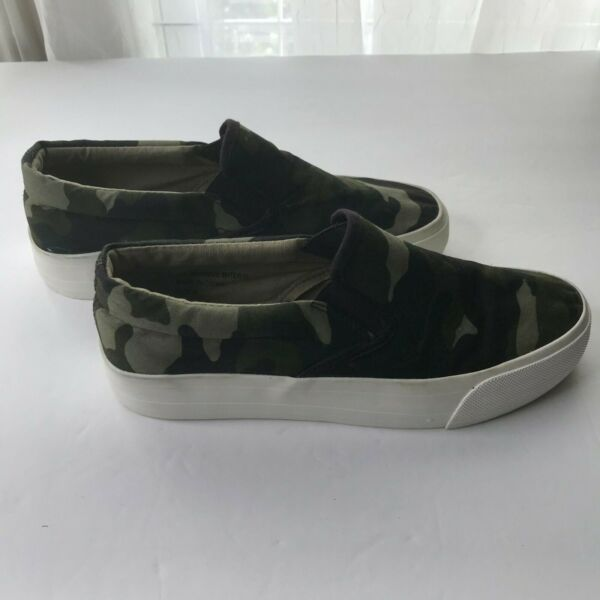 Green Camo Slip On Shoes Adult Woman's Size 8 Very Good Condition $22.00
