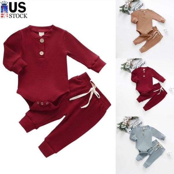 Newborn Baby Boy Girl Clothes Ribbed Romper Jumpsuit Bodysuit Pants Outfits Sets $12.79