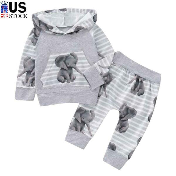 Newborn Baby Girls Boys Hooded Tops Elephant Pants Clothes Tracksuit Outfits Set $10.39
