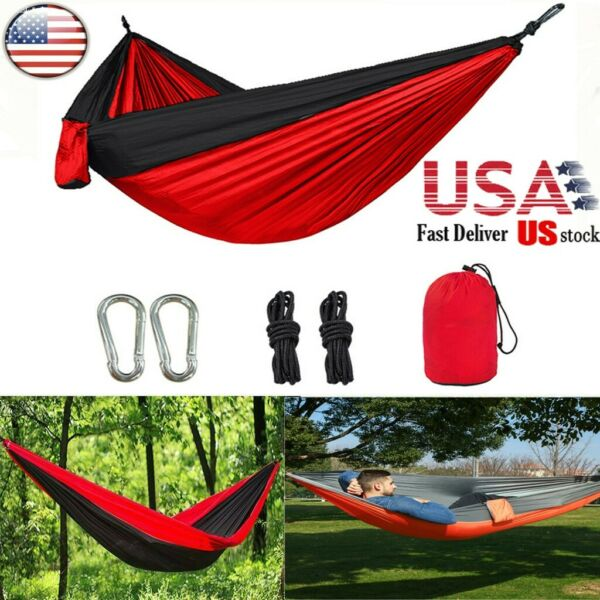 Outdoor Camping Nylon Hammock Double Parachute Hanging Bed Sleeping Swing New $17.99