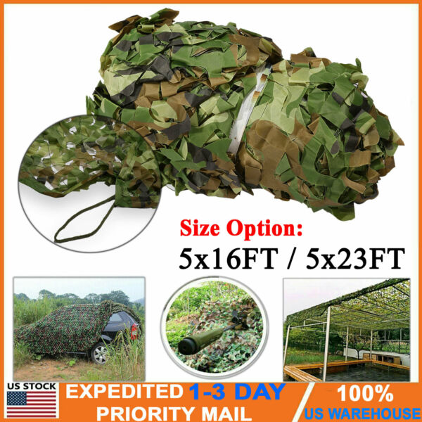 16ft 23ft Camouflage Netting Camo Army Net Woodland Camping Hunting Cover Shade