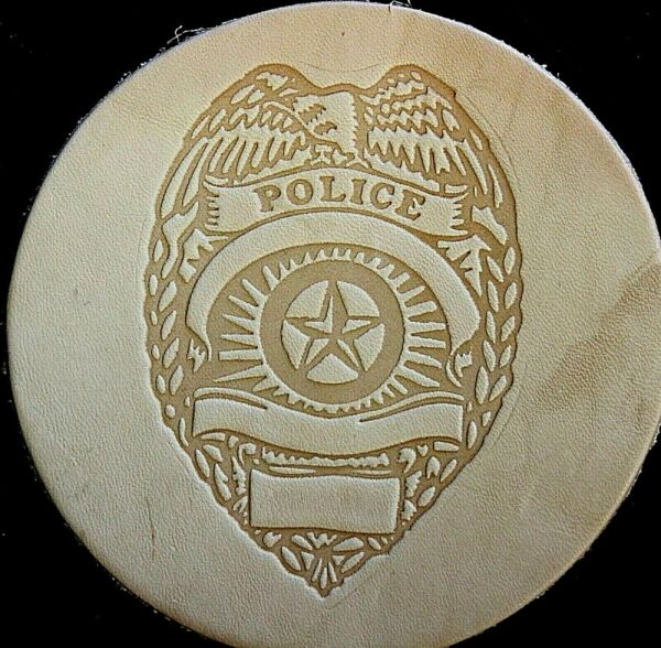 ACRYLIC Leather Embossing Stamp POLICE for Veg Tanned Leather $17.99