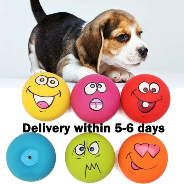 6PCS UNIEX LATEX DOG PUPPY PET PLAY SQUEAKY BALL WITH FACE FETCH TOY BRIGHT US $10.88