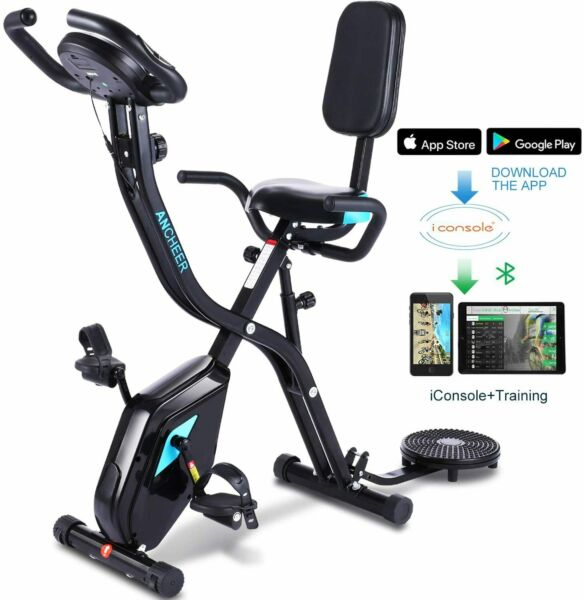 ANCHEER Indoor Exercise Slim Folding Bike 3 in1 Home Stationary Magnetic Cycle $217.99