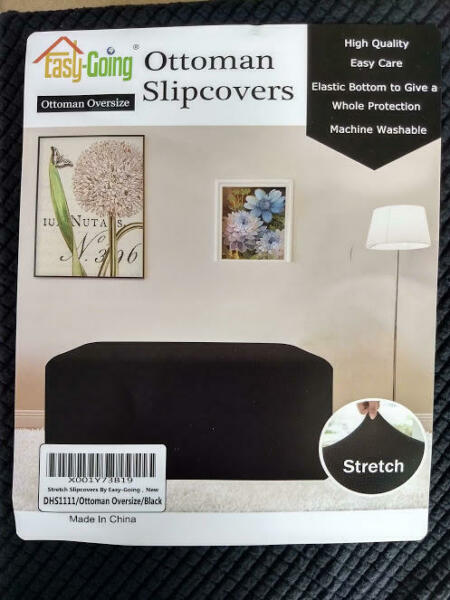 Easy Going Stretch Slipcover Ottoman Oversized Black Furniture Cover $14.26