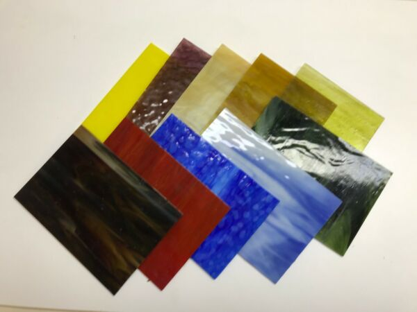 """Stained Glass PREMIUM ART GLASS Ten Piece Variety Pack 7"""" x 5"""" Free Shipping"""