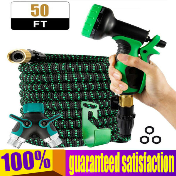 50FT Lightweight Expandable Garden Hose with 9 Pattern Spray Nozzle Durable