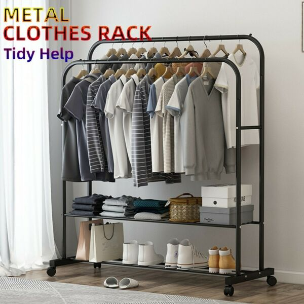 Rolling Dual Rail Closet Organizer Heavy Duty Garment Rack Clothes Hanger Shelf