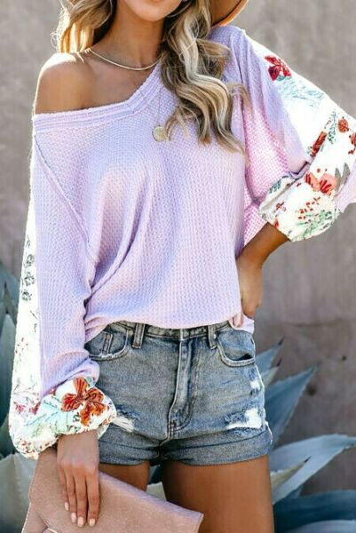 Lavender Thermal V Neck Raw Edge Floral Insert Sleeves Round Hem Top LARGE 12 14 $16.20