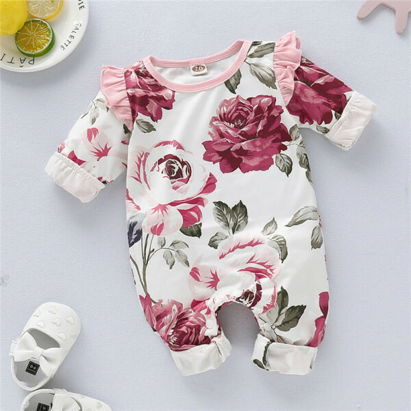 Infant Baby Girls Romper Tops Jumpsuit Floral Pants Headband Clothes Outfits Set $8.99