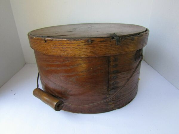 Antique Primitive Bentwood Pantry Box w Lid amp; Wire Bail Handle w Wood Grip 11quot;