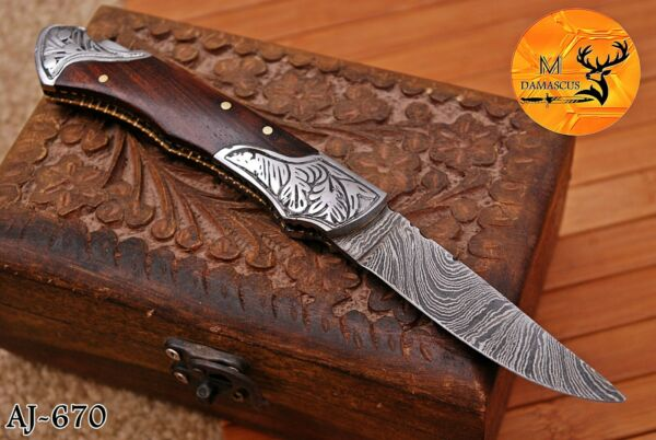 HAND FORGED DAMASCUS STEEL FOLDING POCKET KNIFE WITH WOOD HANDLE AJ 670 $19.50