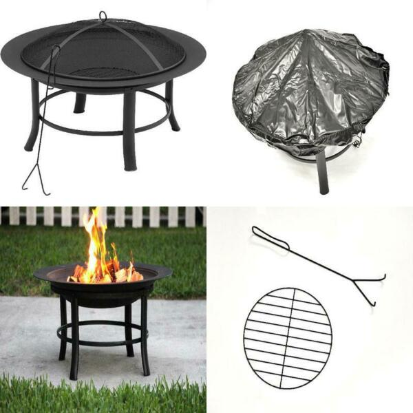 Fire Pit Wood Burning Backyard Outdoor Heater PVC Cover Log Spark Guard 28 Inch