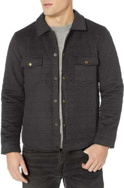 Billy Reid Men#x27;s Quilted Brass Snap Michael Jacket with Large Light Grey $395.99