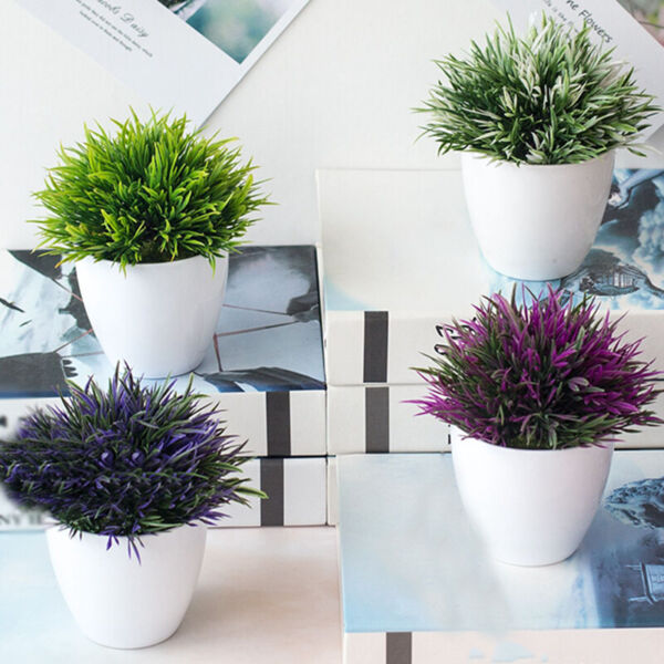 Artificial Flowers Small Bonsai Fake Plant Flower In Pot Home Office Desk Decor