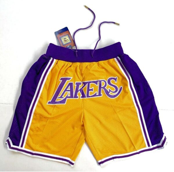 Los Angeles Lakers Vintage Retro Gold Just Don Summer League Basketball Shorts $49.95