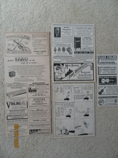 Vintage Ads Music Violins Gustav Fraser Squier Violin Lot of 4