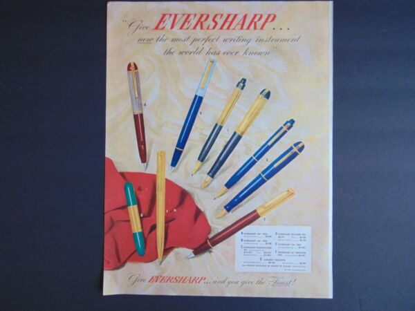 1947 EVERSHARP PENS Most Perfect Writing Instrument vintage art print ad