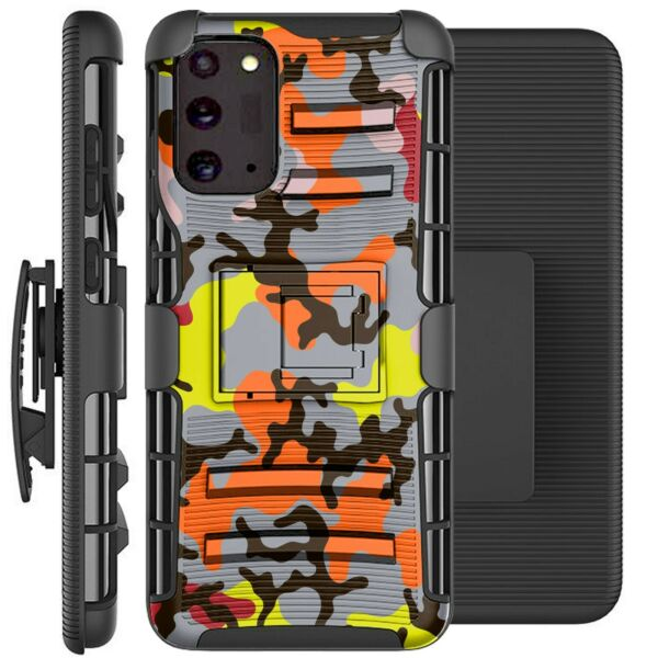 Holster Case For Galaxy Note20 Note 20 Ultra 5G Phone Cover ORANGE STYLISH CAMO $13.99