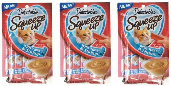 Delectables Squeeze Up Hartz Cat with Tuna amp; Shripm 2.0 oz Each 3 Pack $12.99