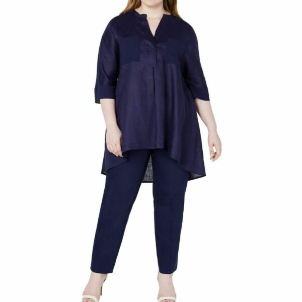 ANNE KLEIN NEW Women#x27;s Plus Size Linen Contrast pocket Tunic Shirt Top TEDO $17.97