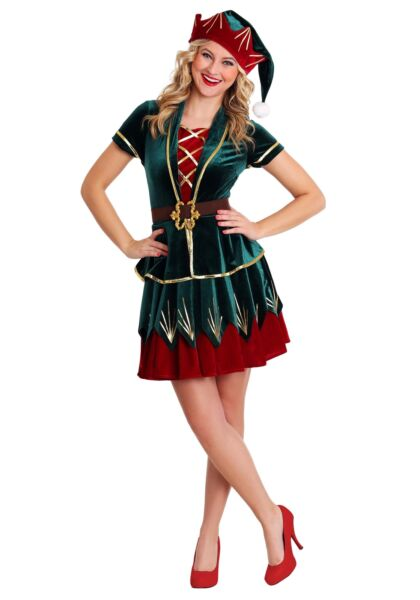 Womens Deluxe Holiday Elf Costume