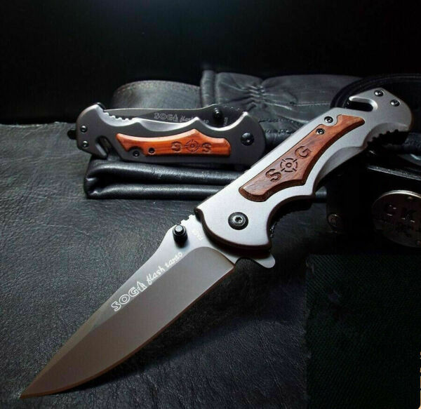 SOG Tactical Rescue Pocket Knife Spring Assisted Opening Large Wood New FA05