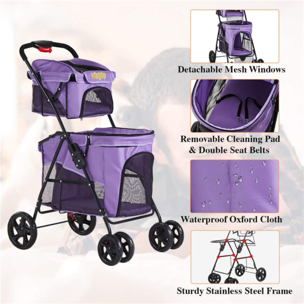 Fold Double Pet Stroller Carrier 4 Wheels Dog Jogging Stroller Shock Absorption $89.99