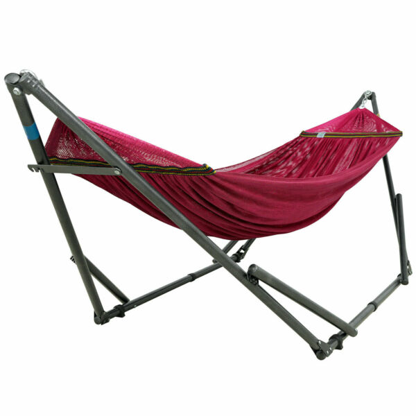 Tranquillo Adjustable Foldable Hammock Stand with Red Polyester Hammock Net $123.94