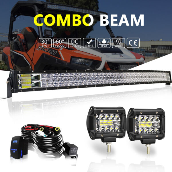 Fit 17 Can Am Maverick Max X3 Roof 50quot; 5D Curved LED Light Bar 2x Fog Pods Kit $96.99