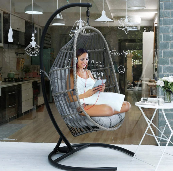 Swing Hanging Egg Wicker Chair Outdoor Garden Patio Hammock Stand Porch Cushions $279.99