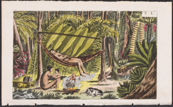 Wilhelm People in Jungle with Hammock. 10 50 1821 Hand Colored Engraving $35.00