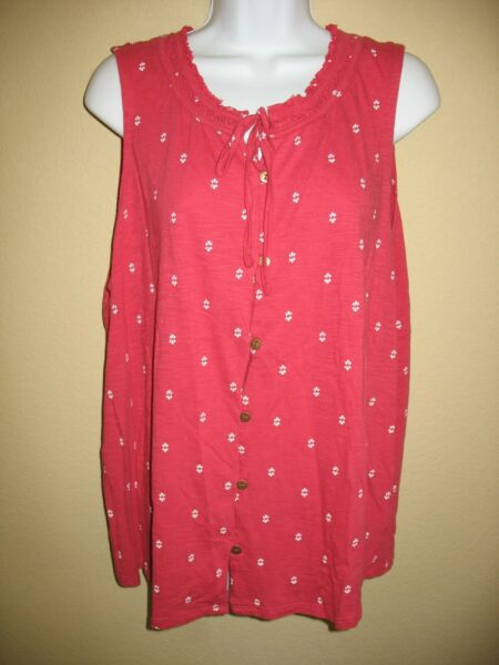 Sonoma Tank Top Sz XL Coral Red Dots Sleeveless Tie Neck Womens