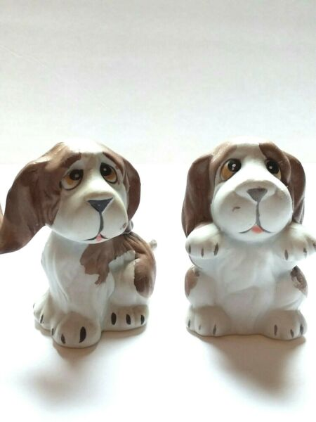 Ceramic Dogs Figurines Sculpture Puppies Set of 3 Brown 3quot; Tall With Box $19.00