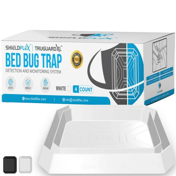 Extra Large Bed Bug Trap 4 Pack TruGuard XL Insect Interceptor Traps $23.99