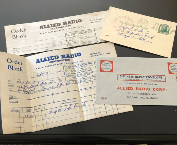 Vintage Lot ALLIED RADIO envelope Order Forms 1951