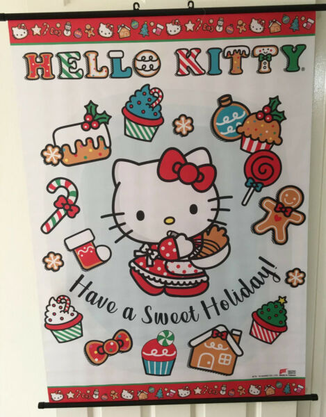 "Sanrio Hello Kitty Poster Holiday Christmas Scroll Tapestry Wall Hanging 33""x44"""