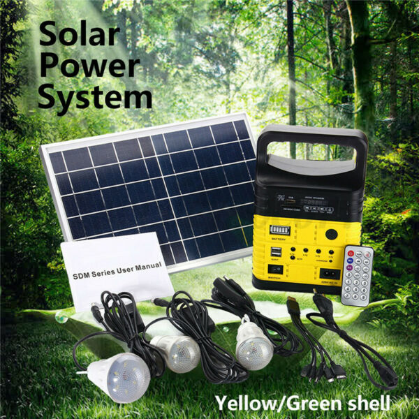 Solar Panel Generator LED Light USB Charger System Back up Electric Home Outdoor $57.35
