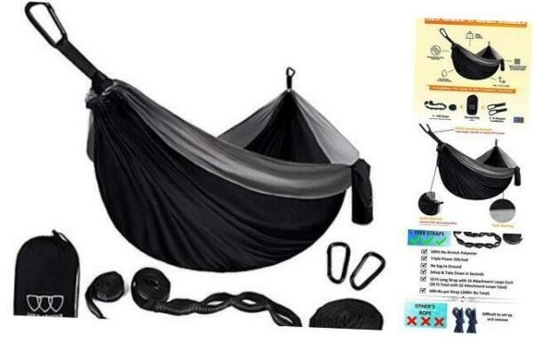 Camping Hammock Extra Large Double Parachute Hammock 2 Tree Straps 16 Loops $48.89