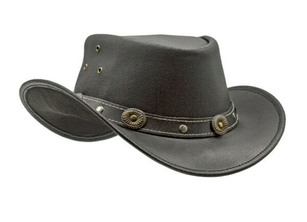 Men#x27;s Black Genuine Leather Cowboy Western Hat