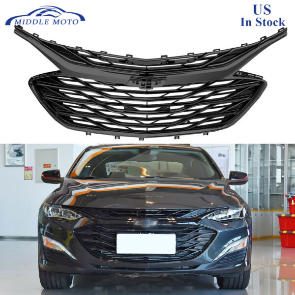 3PCS Gloss Black Front Grille Upper Lower Grill For Chevrolet Malibu 2019 2020