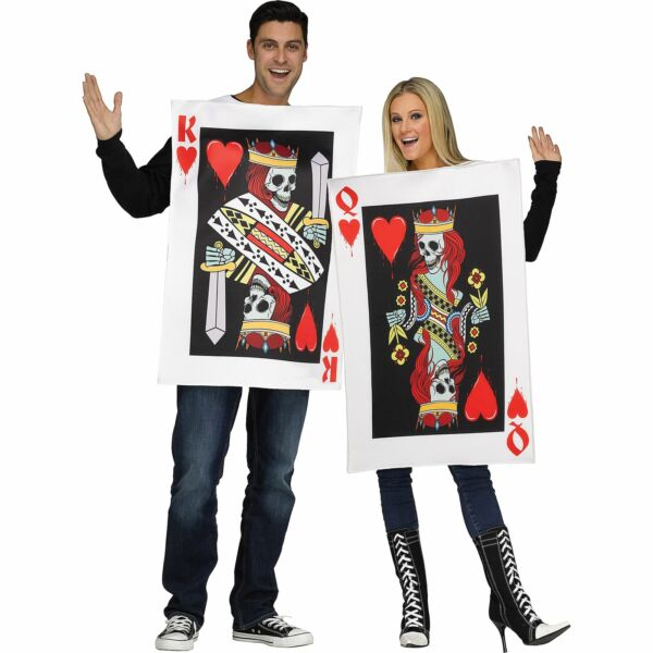 King and Queen of Hearts Couples Costumes for Adults One Size Pullover Tunics $38.39
