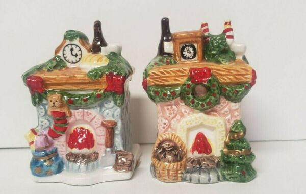Fireplace and Mantle Christmas Salt and Pepper Shakers