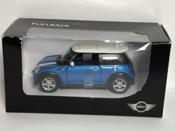 Mini Cooper S Pullback Toy Car Blue With White Roof BMW Group $29.99