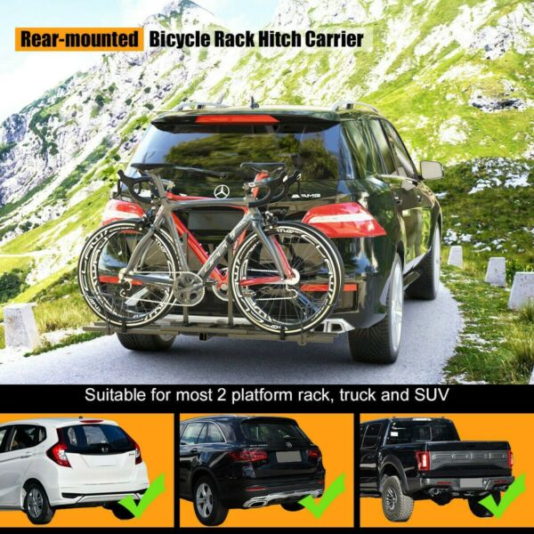 Bike Rack Hitch Mount Carrier 2 Bicycle Heavy Duty for Cars Trucks SUVs Platform $69.99