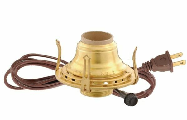 Brass #2 Electric Converter Burner for Oil Lamps with Brown Cord
