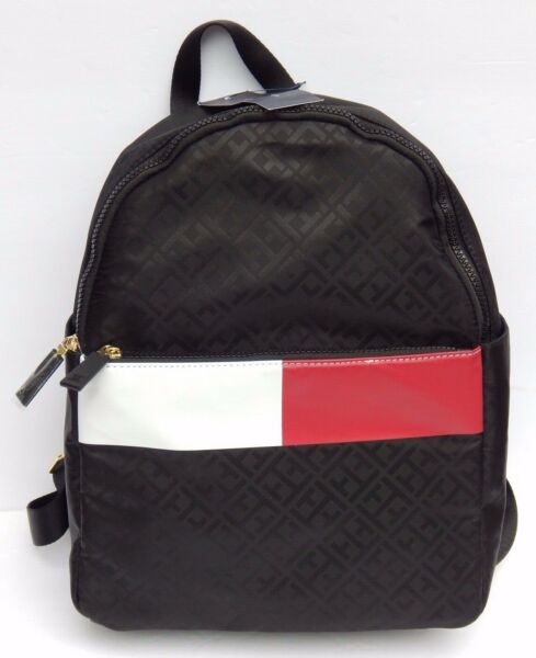 TOMMY HILFIGER BACKPACK LUGGAGE BLACK TOMMY LOGO NEW AUTHENTIC $49.99