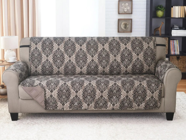 Couch Guard Reversible Sofa Guard 75x110 French Damask Taupe $39.99