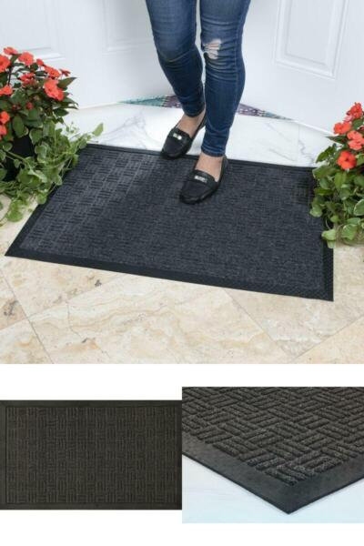 Outdoor Door Mat Commercial Entrance Indoor Rubber Entry Floor Rug Nonslip Gray