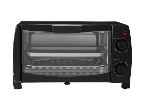 4 Slice Black Toaster Oven with Power indicator light 2 Rack amp; Pan 3 Piece